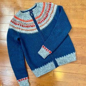 Gap Fair Isle Cardigan Sweater in Wool/Mohair S